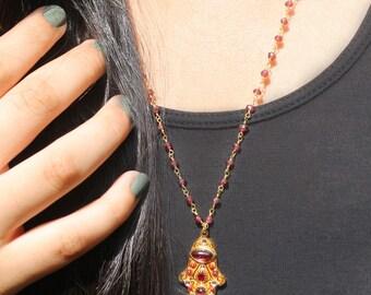 Garnet Royal Hamsa Necklace