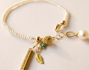 The Daintiest Dainty Charm Bracelet Handcrafted by Bare and Me/ Dainty Charm Bracelet/ Dainty Pearl Jewelry/ Dainty Bridesmaid Gifts