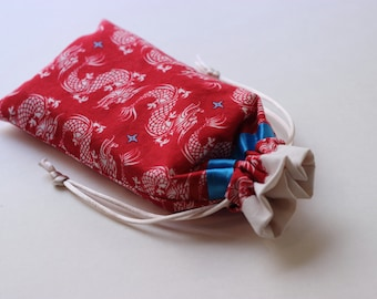 Dragons on Red Tarot Pouch