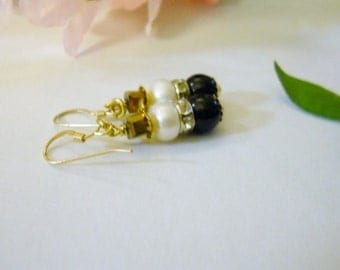 Earrings, gold cubed Czech glass, Black Swavorski glass pearls, fresh water white pearls,  rhinestone spacer, Mother's day, gold plated