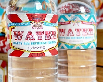 Vintage Carnival Water Bottle Labels - INSTANT DOWNLOAD - Editable & Printable Party Decorations by Sassaby Parties