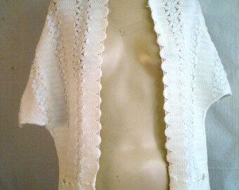 Vintage Shawl 1960's White Crocheted Shawl or Stole White and Silver Evening Wrap