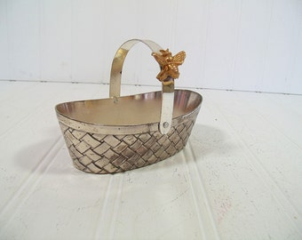 Vintage Silver Tone Woven Metal Basket Made in Japan - Retro Vanity Jewelry Trinket Dish with Articulated Handle Gold Tone Metal Bumble Bee