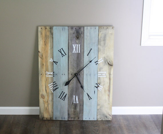 Large Rectangular 36 By 26 Wall Clock Rustic