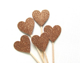 Copper/Bronze Glitter Heart Cupcake Toppers, Party Decor, Autumn, Fall, Weddings, Showers, Double-Sided, Set of 15