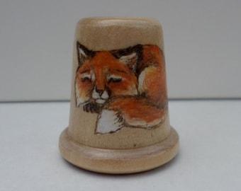 Red Fox thimble wood burned pyrography no42