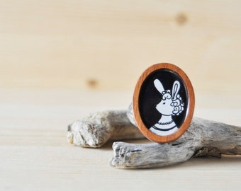 One of a Kind - Hand Drawn Brooch - Eleanor Rabbit