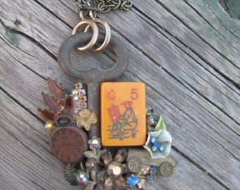 Vintage Handmade Neckpiece Collage with Skeleton Key and Vintage Jewelry