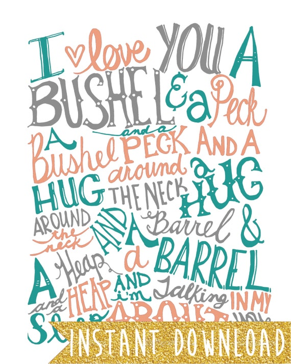 INSTANT DOWNLOAD - Bushel and a Peck - Coral, Teal, Gray Vintage Text - 8x10 Illustrated Print by Mandy England