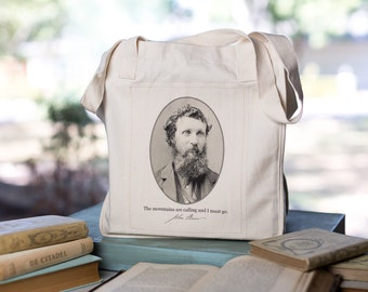 John Muir quote, Organic Cotton Canvas Bag, Mountain Bag, Woodland Tote, Market Tote