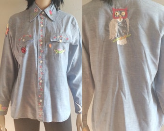 Vintage 70s Levis for Gals Embroidered Chambray Blouse