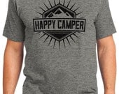 Happy Camper Camping Outdoors Men's & Women's T-shirt Short Sleeve 100% Cotton S-2XL Great Gift (T-CA-06)