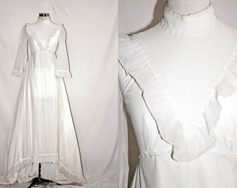 Vintage 1970s Wedding Dress with Ruffle Trims