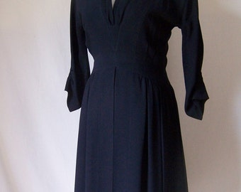 KARL LAGERFELD couture vintage 80s does 50's black crepe dress 38 Size 4