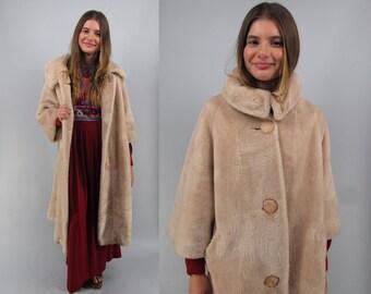 Vintage 60s Mod Faux Fur Coat, Long Faux Fur Coat, Midi Coat, Plush Faux Fur Coat, Boho Coat, Bohemian Δ size: lg