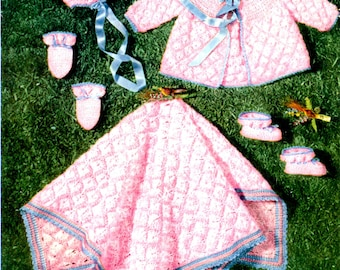 1950's Baby Layette Set Crochet Perfect for a Stroll in the Park  PDF Pattern Instant Download