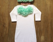 Newborn Girl Take Home Outfit Mint Green Sleeper Gown & Beanie Baby Girl Outfit, Layette, Hospital Take Home Outfit, Coming Home Outfit