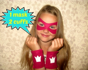 Princess mask cuffs set - Barbie in Princess Power pink felt birthday super girl party Photo booth props - handmade dress up play accessory