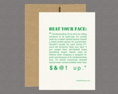 Military Greeting Card - Beat Your Face - Care Package, Boot Camp, Basic Training, Deployment, Military Card