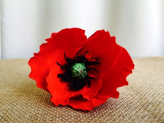 Paper Flowers Real Like Handmade Flowers Paper Red Poppy Flower Home Decor Wedding Decor Decor paper Decorations Red Poppies Paper Poppies
