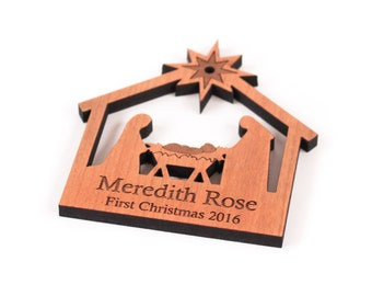 personalized nativity solid hardwood ornament - ideal gift for baby's First Christmas, family present, or hostess