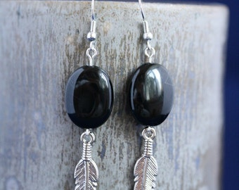 Banded Onyx Feather Earrings - Item 1665