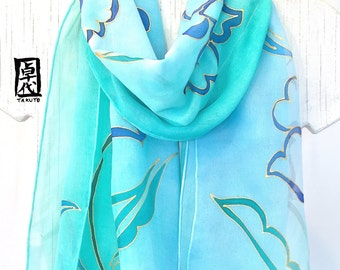 Silk Scarf Hand Painted, Gift for her, Reversible Scarf, Mint Green silk chiffon scarf, Japanese Kimono Silk Chiffon Scarf, 11x60 inches.