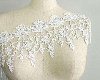 Princess Caroline White English Rose Fringe Venice Lace Trim / Wedding Dress / Bridal Lace