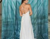 Handmade Silk Modern Garden Wedding Dress, Low back, strap detail, Plunging V-neck, Fitted Skirt, Elegant Simple Wedding Gown