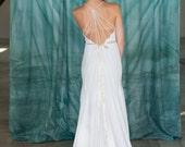 Handmade Cotton Modern Garden Wedding Dress, Low back, strap detail, Plunging V-neck, Fitted Skirt, Elegant Simple Wedding Gown, vegan