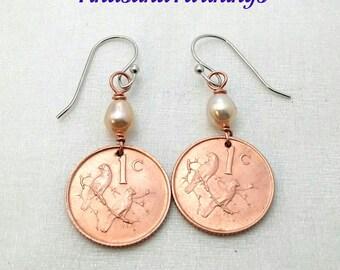 Coin Earrings - SPARROW coin earrings - two birds on a branch - South Africa earrings - bird earrings - sparrow earrings - sparrow jewelry