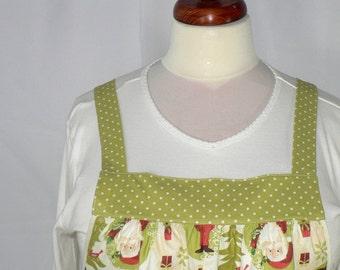 "WOODLAND CHRISTMAS Pinafore Apron ""no tie apron"", all day apron, loose fitting smock, holiday baking apron"