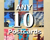 Any 10 Postcards, you pick, postcard prints of original fabric artwork, 4x6 inches, high gloss, UV protection
