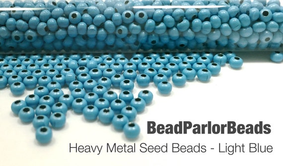 Light blue plated metal seed beads size 8 0 by beadparlorbeads