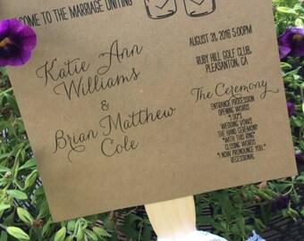 Rustic Lace Wedding Fan Programs, Ceremony Programs, Fan Programs for Destination Weddings