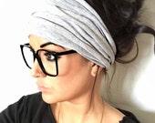 FREE SHIPPING- Gray Scrunch Headband, Extra Wide Headband, Jersey Headband, Extra Wide Jersey Headband, (women, teen girls)