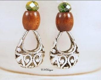 Wooden Bead Earrings, Wood, Glass and Silver Earrings, Glass and Wood Beaded Dangle Pierced Earrings. OOAK Handmade Earrings. CKDesigns.US