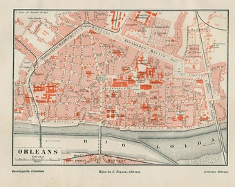 1920s Vintage City Map of Orleans, France, Street Plan