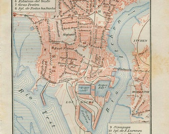 1920s Southampton Vintage City Map Street Plan Hampshire England Retro Home Decor