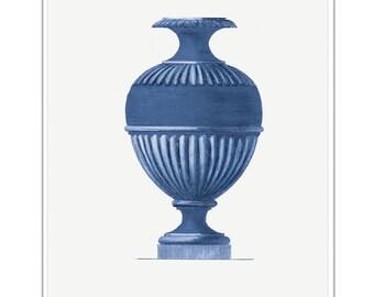 Ultramarine Blue Italian Vases from Italian Antique Prints. Roman Italian Blue Vases in Ultramarine Blue. Decorative Home and Living Decor