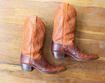 11 B / Men's Cowboy BOOTS / Lizard Size Western Shoes / Vintage Pointy Brown Leather Justin Boots