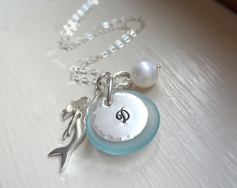 Mermaid Necklace Sea Beach Ocean Lovers Gift Initial Letter Jewelry Pearl Really a Mermaid Gift for Her