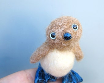 RESERVED Baby booby, blue footed booby, needle felted, bird sculpture, felted animals, marine birds, cute felt critter, miniature oddity
