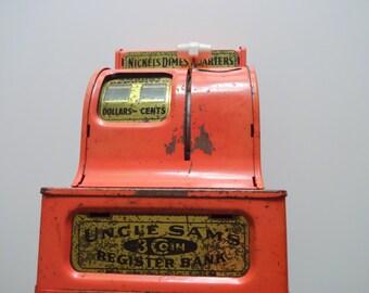 Vintage Pink Uncle Sam's 3 Coin Register Bank 1950s