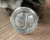 Custom Wax Seal Monogram Ring, Precious Silver Initial Ring, Vintage Wax Seal Ring, Woman's Gift, Statement Ring,Hand Pressed Raw and Rustic