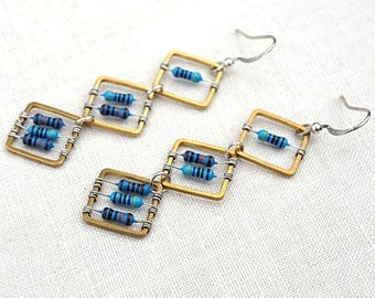 Techie Jewelry, Blue Tiny Resistors, Wearable Tech, Computer Earrings. Geometric Earrings, Electronics Eco Friendly Earrings, 3 Squares