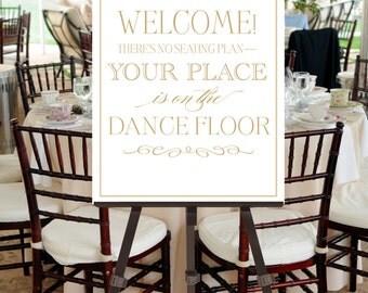 Wedding Welcome Sign INSTANT DOWNLOAD Printable -- Dance Floor, Dancing, Vintage Fonts Gold White