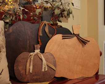 WOOD PUMPKINS- different shades of stain