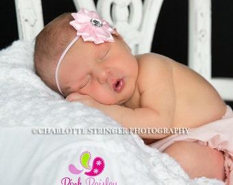 CLEARANCE Baby Girl Headband - Baby Girl Bows - Baby Hair Accessories - Infant Headband. Newborn Headbands. Baby Girl Pink Headbands