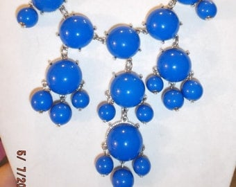 SALE Beautiful Bright Blue and Silver Bubble Necklace High Fashion, Modern, Fun, Light Playful great for the Summer Months